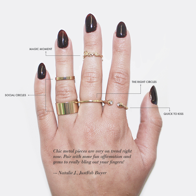 JustFab gold midi rings